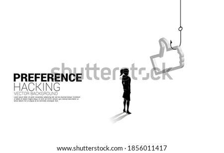Silhouette of businesswoman standing with fishing hook with 3D thumb up icon. Concept of click bait and digital phishing. Stock photo ©