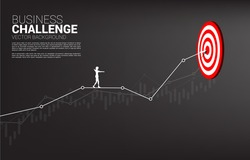 silhouette of businesswoman walk rope on line graph to center of dartboard.  Concept of targeting and Business challenge.route to success.