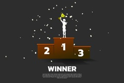 Silhouette of businesswoman with champion trophy on first place podium. Business Concept of winner and success
