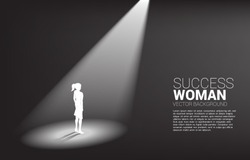 Silhouette of businesswomen standing in spotlight. business concept of recruitment and highlight person