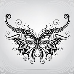 Silhouette of butterflies in the ornament