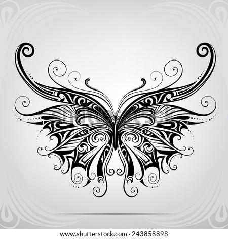 silhouette of butterflies in
