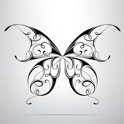 Silhouette of butterfly in the ornament