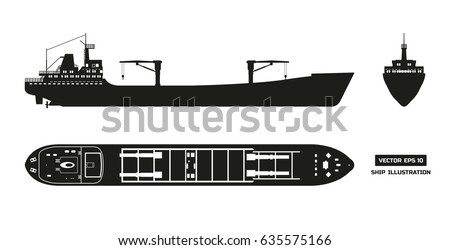 Silhouette of cargo ship on a white background. Top, side and front view. Container transport. Vector illustration