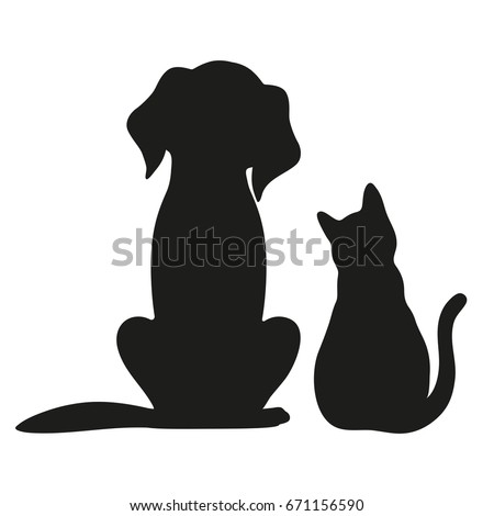 silhouette of cat and dog on