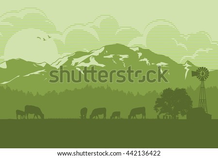 Silhouette of cattle in countryside
