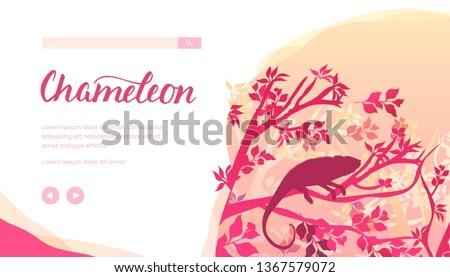 silhouette of chameleon sitting