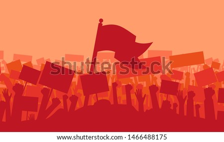 Silhouette of cheering or riot protesting crowd with flags and banners. Protest, revolution, demonstrators or conflict. Vector illustration ストックフォト ©