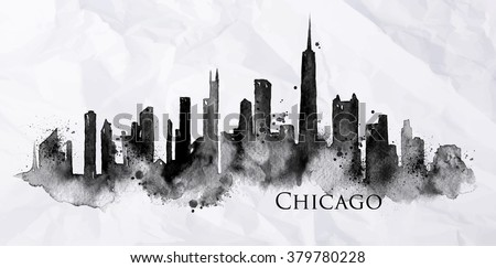 Silhouette of Chicago city painted with splashes of ink drops streaks landmarks drawing on crumpled paper