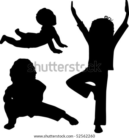 Silhouette of children who play yoga - stock vector
