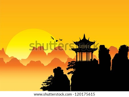 silhouette of chinese landscape
