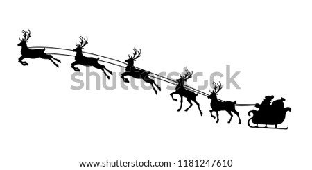 Silhouette of Christmas reindeer harness and Santa Claus. Vector illustration