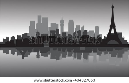 silhouette of city and eiffel