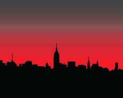 silhouette of city sunset-vector