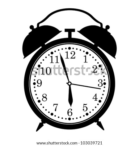 Silhouette of classic clock. - stock vector