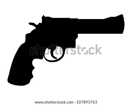 Silhouette of classic gun colt - illustration