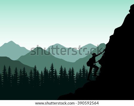 silhouette of climber of the