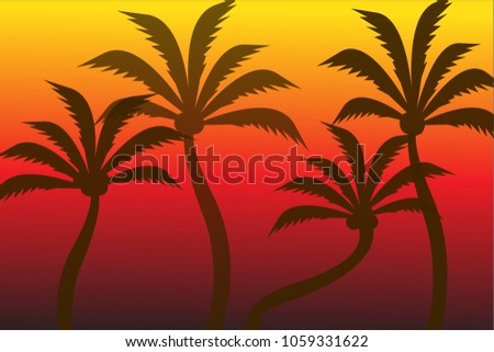 silhouette of coconut tree with