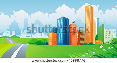 Silhouette of colorful city. Panorama of city with road on landscape background. Vector illustration art.