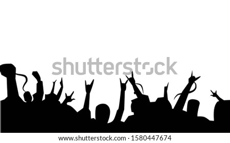 silhouette of concert or festival audience.sport audience hand up clip art