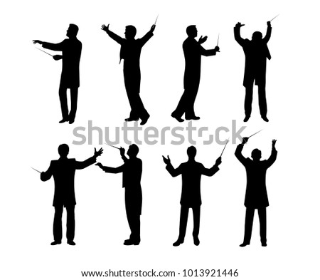 Silhouette of conductor set vector illustration.