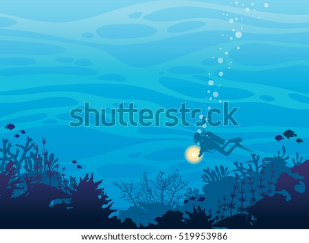 Silhouette of coral reef with fish and scuba diver on a blue sea background. Underwater marine wildlife. Nature vector illustration.