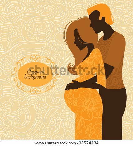 Silhouette of couple. Background of pregnant woman and her husband