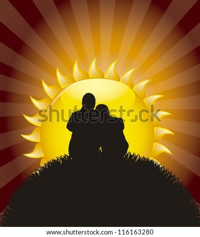 silhouette of couple sitting watching the sunrise. vector