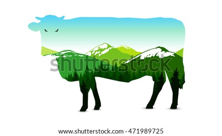 silhouette of cow with panorama