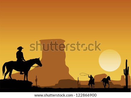 Silhouette of cowboy catching wild horse at sunset background, vector