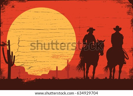silhouette of cowboy couple