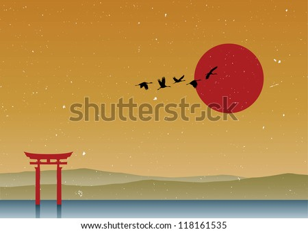 silhouette of cranes flying in