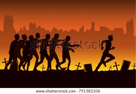 silhouette of crowd zombie