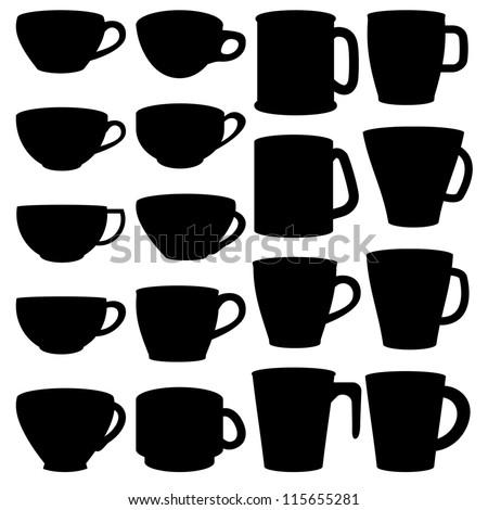 Silhouette of cup and mug