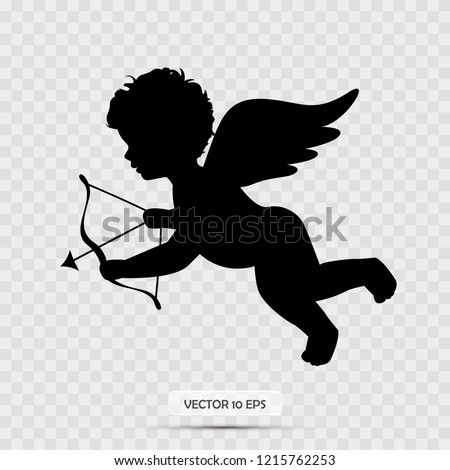 Silhouette of Cupid. Cupid holding arrow. Isolated on white. Vector