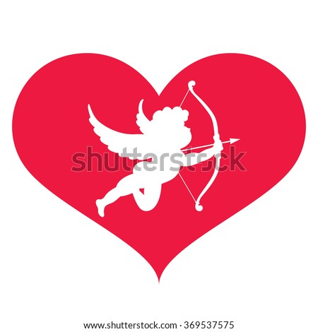 silhouette of cupid in heart