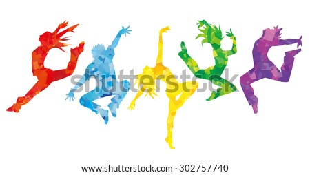 silhouette of dancers  colorful
