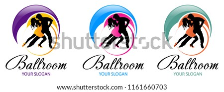stock-vector-silhouette-of-dancing-couple-dance-logo-designs-template-elements-of-dance-multi-colored-icons