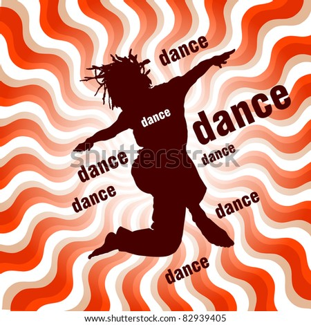 silhouette of dancing woman on wavy background