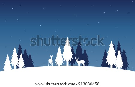 silhouette of deer and spruce