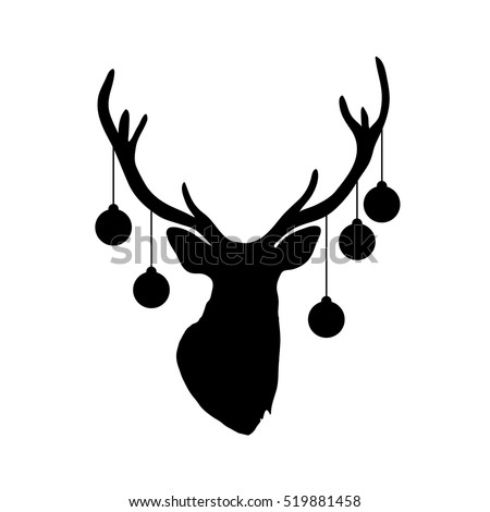 Silhouette of deer head with christmas tree toys on horns isolated on white background. Art vector illustration.
