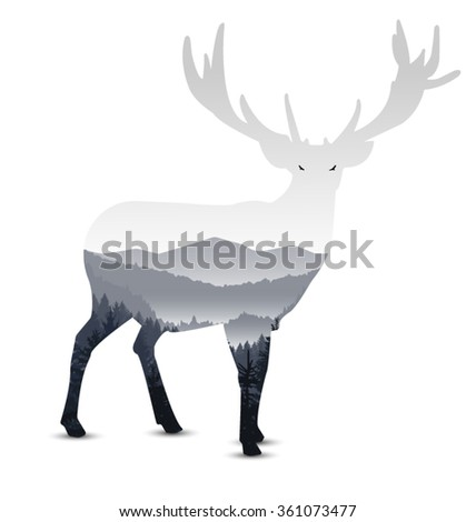 silhouette of deer with