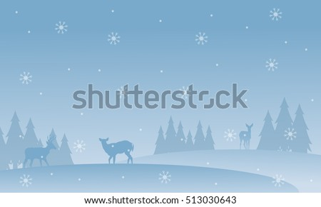 stock-vector-silhouette-of-deer-with-snowflakes-scenery-winter-christmas