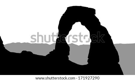 silhouette of delicate arch