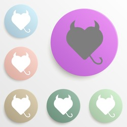 Silhouette of devil heart with horns and tail badge color set. Simple glyph, flat vector of web icons for ui and ux, website or mobile application