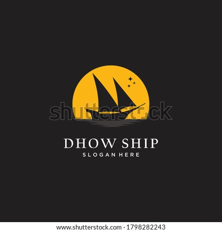 silhouette of dhow in the moon