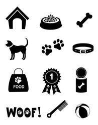 Silhouette of dog related icon collection isolated white background