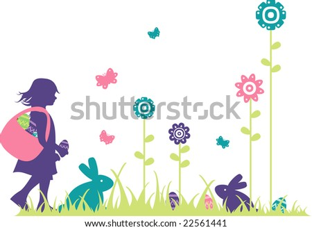 silhouette of easter scene with elements like a girl, eggs, spring