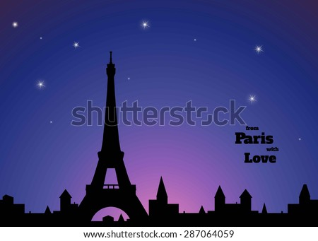 silhouette of eiffel tower  old