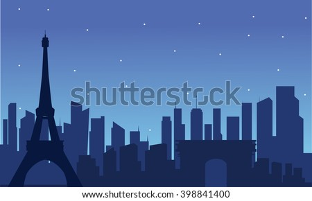 Silhouette of eiffel tower with blue background
